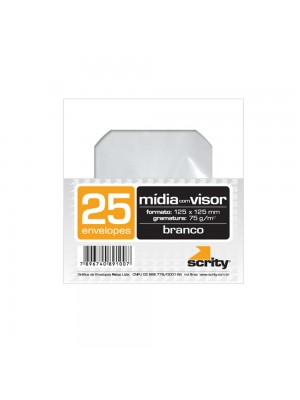 ENVELOPE BRANCO COM 25 PARA CD COM VISOR TR CMD101 SCRITY