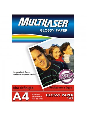 PAPEL GLOSSY PAPER 150GR A4 C/50FL MULTILASER