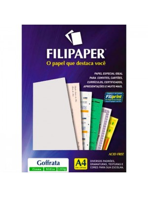 PAPEL VERGE BRANCO A4 90GRS C/100FL FILIPERSON